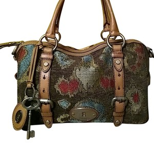 Fossil Maddox Large Tapestry Leather Buckles Skeleton Key Charm Zb5052 Satchel in Multi