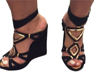 Ivy Kirzhner Sexy Neiman Marcus Black with Gold hardware Wedges