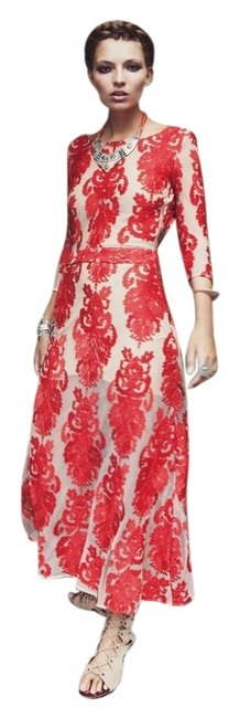 Item - Red and Tan Spring 2014 Collection Long Night Out Dress Size 10 (M)