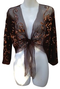 BASIL AND MAUDE-BRILLIANT Top BROWN-SEQUINED