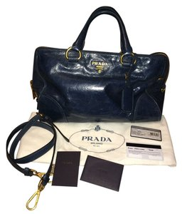 Prada Rare Vitello Shine Bl0822 Navy Blue Leather Satchel in Blue/Denim