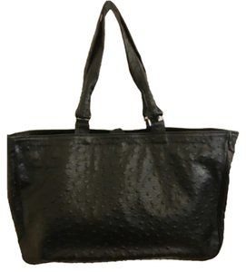 Cecconi Made In Italy Leather Tote in Black Ostrich