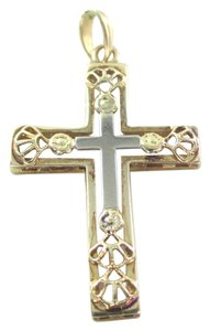 Other 14K YELLOW WHITE GOLD PENDANT CROSS 1.5 GRAMS NO SCRAP FINE JEWELRY FAITH GIFT