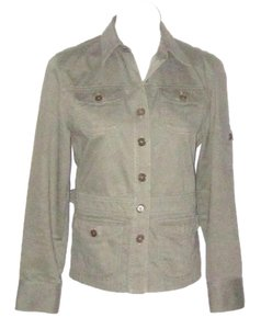 Jones New York Fitted 5 Pocket Cotton Green Womens Jean Jacket