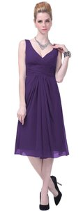 Purple Graceful V-neck Pleated-waist Tea Length Chiffon Dress