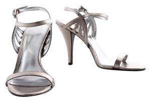 Calvin Klein Silver Metallic Wedding Evening Stiletto Platform Heels Pewter Sandals