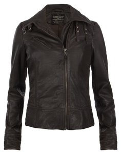 AllSaints Leather Sexy Blogger Favorite Motorcycle Moto Bitter Brown Leather Jacket