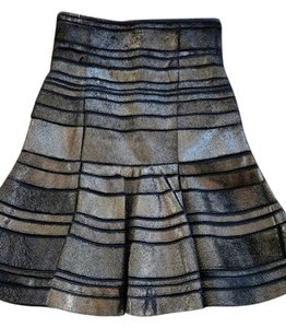 J. Mendel Flared Pony Leather Skirt Bronze