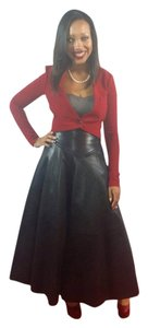 Maxfield Parrish High Waist Leather Tea Length A-line Vintage Maxi Skirt Black