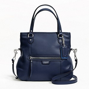 Coach Leather Convertible Crossbody Tote in Midnight Navy Blue