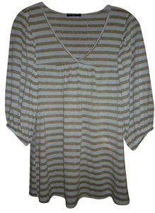Cha Cha Vente T Shirt Cream / Gold stripe
