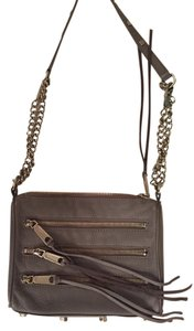 Rebecca Minkoff Leather Grey Silver Detachable Strap Studded Cross Body Bag