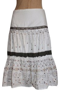 Anthropologie Hazel Embroidred Lace Sequin Boho Skirt WHITE