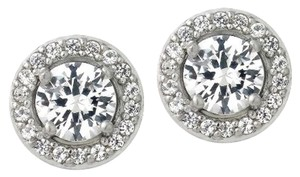 925 Silver 3ct Created White Sapphire Round Halo Stud Earrings