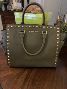 Michael Kors Studded Leather Large Tote in Loden - Olive Green