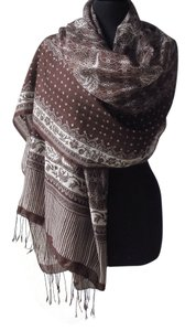 Batik Boutique Elegant Brown and White Batik Wrap