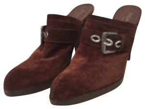 Yves Saint Laurent Suede Clogs Brown Mules
