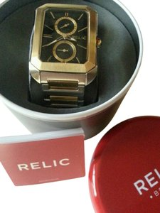 Relic Relic by Fossil Brookfield Multifunction rectangle Gold Silver Tone Watch NEW