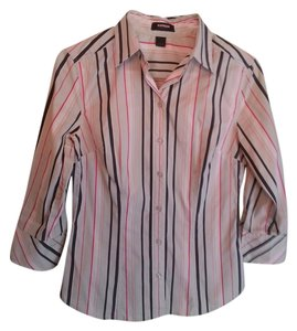 Express Button Down Shirt Grey, light Green and Fuschia stripe
