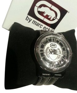 Marc Ecko Rhino by Marc ecko Bold Graphic design Black Leather watch E8M029MV NWT