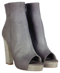 AllSaints Manifest Ankle Leather Stacked Heel Platform Urban Edgy Gray Print Boots
