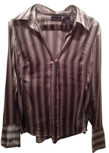 New York & Company Button Down Shirt Silver/Black