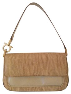 Salvatore Ferragamo Leather Tags Clutch Ivory Summer Winter Designer Night Out Date Night Casual Formal Spring Tan Nwt Baguette