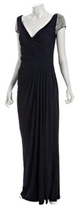 Badgley Mischka Pearl Capped Sleeves Long Dress