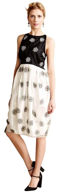 Item - Ivory and Black Anthropologie Snowfall Mid-length Cocktail Dress Size 0 (XS)