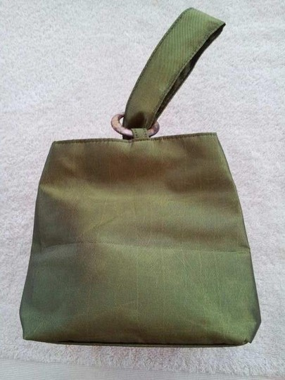 Boutique Style Wristlet in Olive Green with Turquoise Applique
