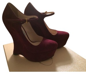 Prada Burgundy Wedges