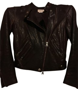 Club Monaco Burgundy Leather Jacket