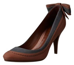 Anthropologie Leather Schutz Deep Tan and Charcoal Pumps