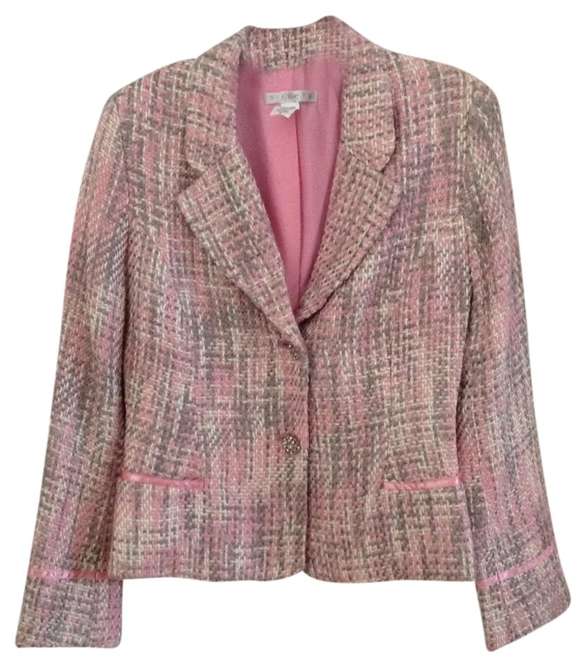 Super Ninety Pink Chanel Style Tweed Jacket Jewel Buttons Blazer Size 6  LM64