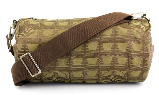 Item - Two Tone Army Green and Brown Canvas Shoulder Bag