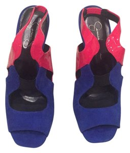Jessica Simpson Blue violet, pink, black Platforms