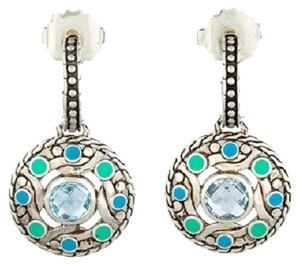 John Hardy Bulan Blue-Green Enamel pierced Earrings with Topaz, John Hardy