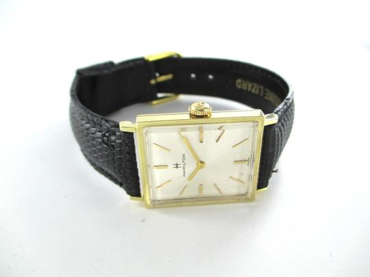 Hamilton 14K YELLOW GOLD HAMILTON WATCH LEATHER BAND SOLID KARAT VINTAGE SWISS WRISTWATCH