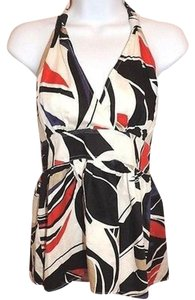 Kenneth Cole Reaction Empire Waist Halter Tunic White Red Black Shirt Multi-Color Halter Top