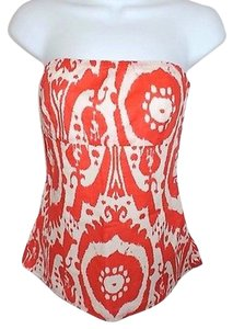 J.Crew Strapless Halter Orange And Cream Paisley 100 Cotton Multi-Color Halter Top