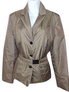 Talbots Belted Dark Tan Nylon Polyester Womens Taupe Jacket