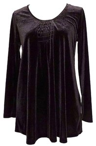 Other Announcements Maternity Black Velvet Top Long Sleeve Scoop Neck