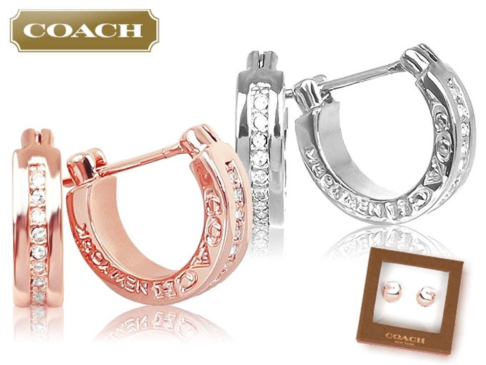 Coach Stud Earrings F99561 Signature Pave Huggie Rose Gold 1234567