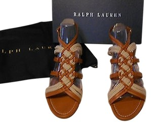 Ralph Lauren Collection Woven Upper Stylish Brown/Natural Sandals