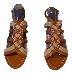 Ralph Lauren Collection Woven Upper Stylish Brown Sandals
