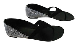 Giuseppe Zanotti Swarovski Crystals Slip Elegant Made In Italy Black Sandals