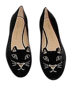 Charlotte Olympia Elegant Whimsical Kitty Design Black Flats