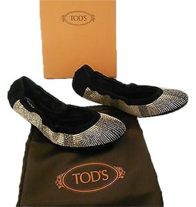 Tod's Beaded Limited Edition Black Flats