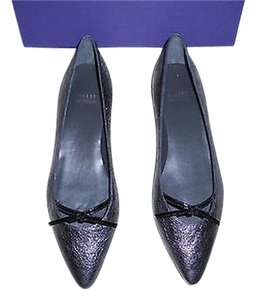 Stuart Weitzman Cleavage Foil Leather Crackled Appearance Hidden Wedge Antracite Flats