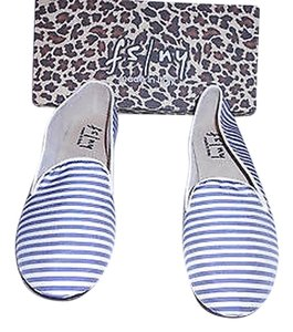 French Sole Comfortable Striped Design Blue/White Flats